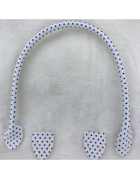 Asa bolso imitación piel blanca con motitas negras 50 cm