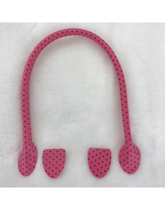 Asa bolso imitación piel fucsia con motitas negras 50 cm