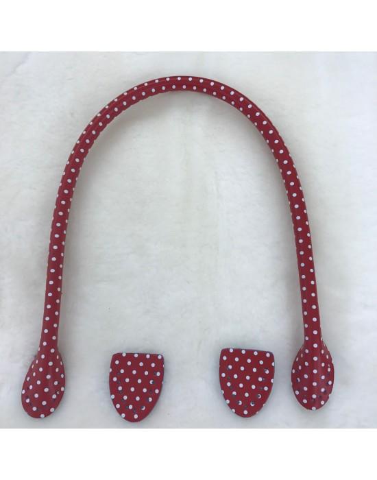 Asa bolso imitación piel fucsia con motitas blancas 50 cm