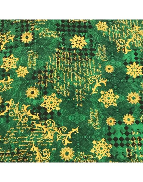 Tela Navidad  verde -10 x 140 cm