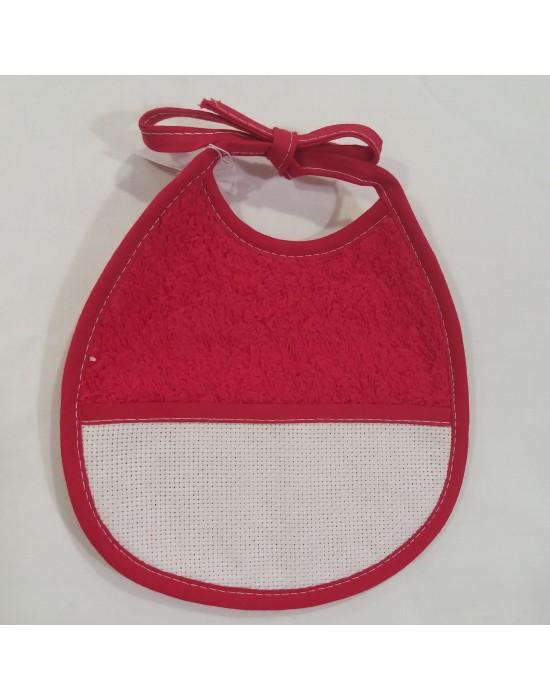 babero rojo y tela aida blanca