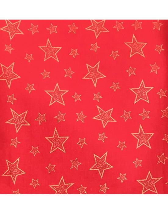 Tela Navidad roja estrellas doradas -10 x 114 cm
