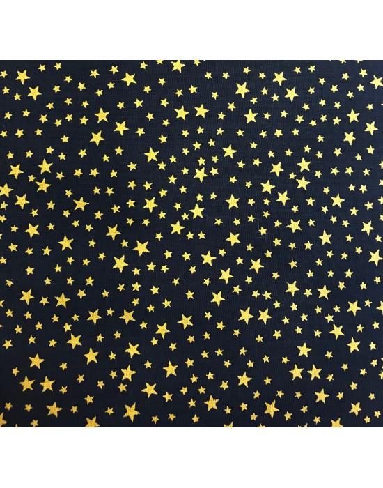 Tela Navidad azul estrellas doradas -10 x 140 cm