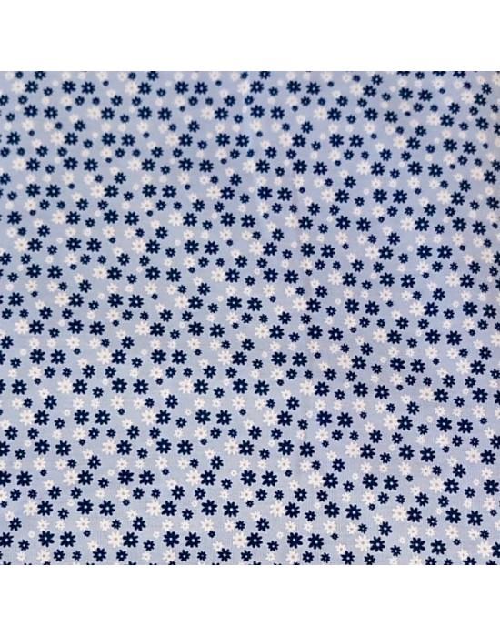 Tela patchwork azul empolvado con flores blancas y marino  - 10 x 150 cm