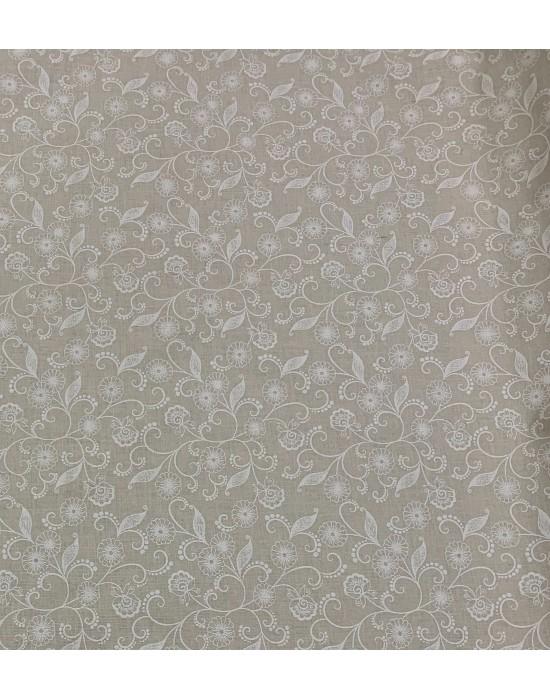 Tela con flores sobre fondo beige - 10 x 150 cm