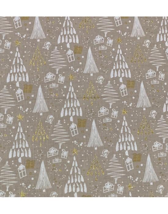 Tela Navidad blanca con estrellas doradas 10 x 140 cm