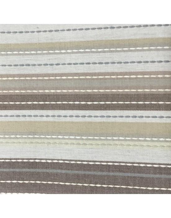 Tela lino rayado marrón y beige - 10 x 160 cm