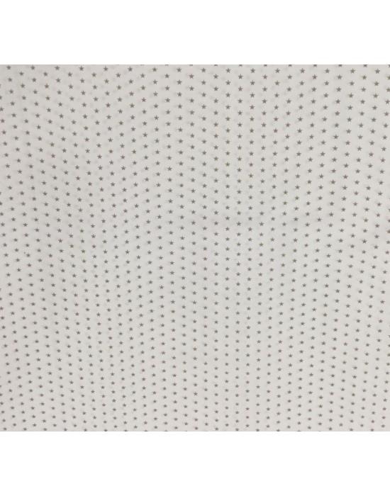 Tela con estrellas beige sobre blanco - 10 x 140 cm