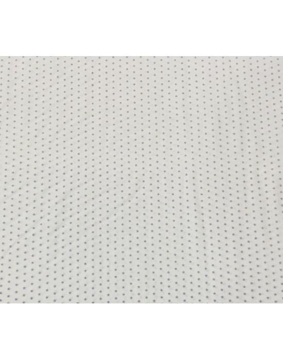 Tela patchwork blanca con lunares gris