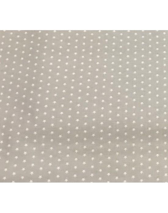Tela con estrellas blancas sobre gris  - 10 x 140 cm